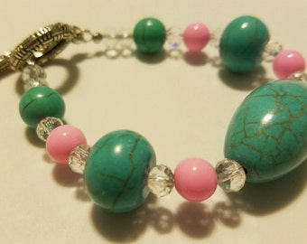Turquoise, Pink and Clear Crystal Beaded Bracelet