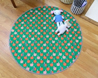 whimsical round whole cloth rug, play mat, one of a kind,  baby room, quilted rug, apples, stripes, playmat, play rug, baby's room