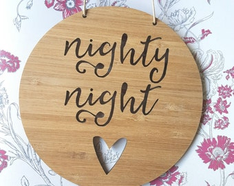Nighty Night Wooden Wall / Door Hanging 14cm or 19.5cm-wall hanging-wall art-wooden sign-kids gift-baby gift-lasercut-keepsake-plaque