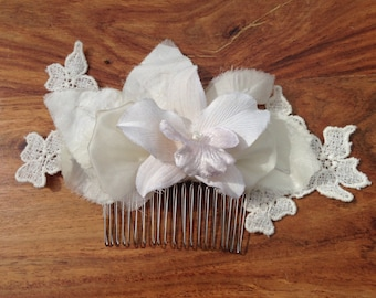 Ivory orchid bridal hair comb