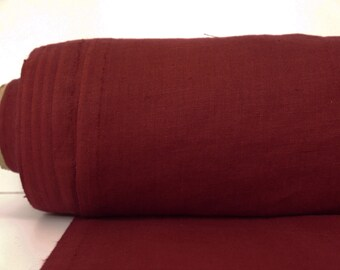 Burgundy Linen Fabric By Yard / Washed Linen Farbic / Pure 100% Linen Fabric From Lithuania / Stone Washed Linen /  Striped Linen Fabric