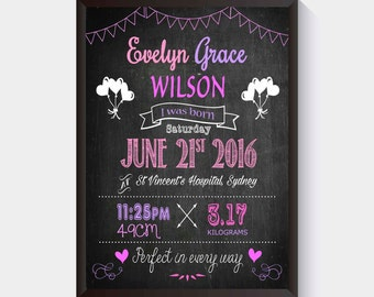 Birth Print | Chalkboard Birth Poster | Birth Announcement | Nursery Decor | Wall Art | Newborn Gift | Birth Details