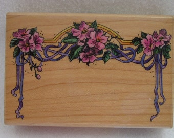 Rubber Stamp - Flowers & Ribbons Border by Stampendous, 1996 stamp Paper Crafting Supply