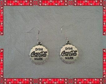 925 sterling silver drop / dangle earrings Drink Coca Cola bottle top