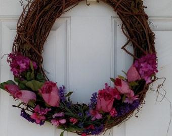 Spring Wreath-Front Door Decor-Rustic Wreath-Spring Home Decor-Summer Grapevine Wreath-Housewarming Gift- Wreath