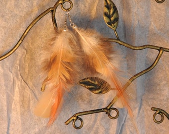 Cream and Brown Rooster Tail Feather Earrings