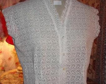 A vintage blouse in white guipure lace, lace, vintage 50's