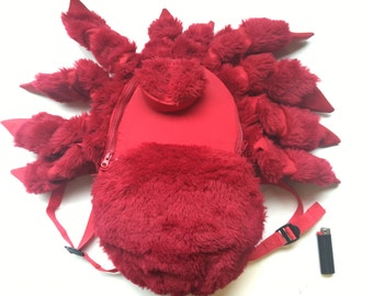Giant Tarantula Backpack, Small Red Tarantula Spider, rugged knapsack, insect bag, water resistant, furry friend, padded straps, back pack