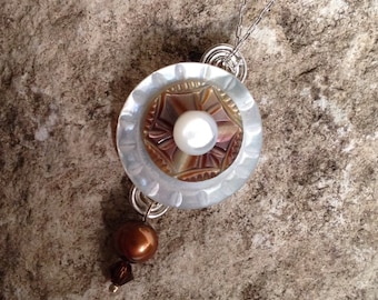 Vintage Mother of Pearl Buttons Pendant in Creamy Mocha Colors