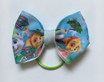 "Paw Patrol Hair Bow~Small Hair Bow~Ponytail Holder~Infant/Toddler Hair Bow-2.5"""