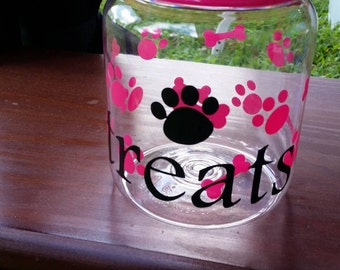 dog treats container, biscuits, dog jerky, 5x4,pink, blue