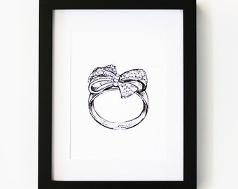 Tiffany ring, Illustration Art Print, Room decor, Gifts For Her, Wall Art, Poster