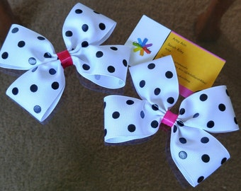 Dalmatians Hair Bow - Polka Dots - Gift for Her - Accessories - White - 101 Dalmations - Stocking Stuffers - Holiday Gift -