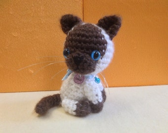 Amigurumi Crochet Siamese Kitten + FREE DELIVERY Within Australia, Miniature Crochet Cat, Amigurumi Cat, Crochet Animal, Stuffed Animal.