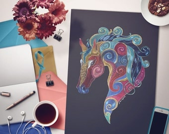 Horse Greetings Card from original illustration, colourful horse card, equine art, blank horse card