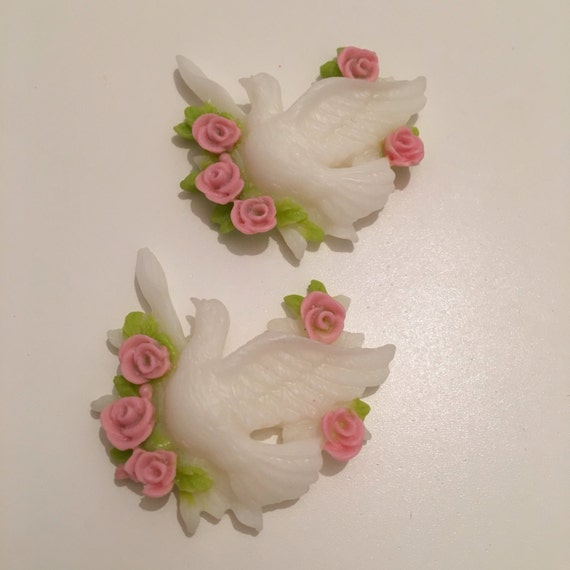 2 Dove with pink & green roses Resin wedding Cabochon flatback kawaii decoden bird vintage diy scrapbooking embellishments crafts jewelry