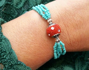Seed beads bracelet turquoise, Women's woman of seed beads and Red resin bracelet, turquoise bracelet