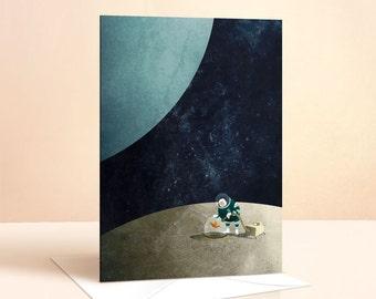 The Space Gardener Card | Birthday Card | Kids Birthday | Space Card | Nursery Art | Greeting Card | Moon | Childrens Art | Childrens Card