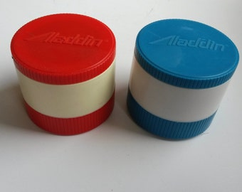 Sale Vintage lunch thermos, soup thermos, individual thermos, Alladin thermos, small thermos, red blue thermos