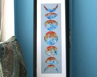 Moon Phases - Moon Cycle - Colorful moons - Space art - Art print - Wall decor - Wall art - Home decor - Painting -Glicee - Nursery decor