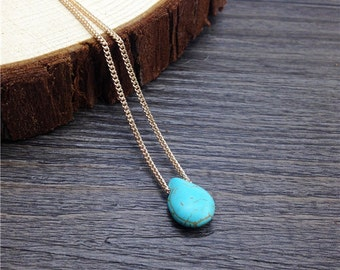 Turquoise Teardrop on Gold Plated Chain