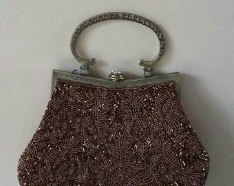 Vintage Beaded Brown Clutch Evening Bag