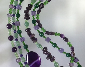 Resort - Boho Chic Purple and Green Necklace