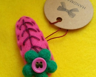 Handmade Felt girls hair clip with Needle felted merino wool flower