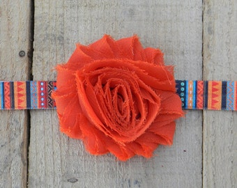Dark Orange Fall Headband, Tribal Headband, Shabby Chic Headband, Baby Girl Headband, Autumn Headband, Toddler Headband