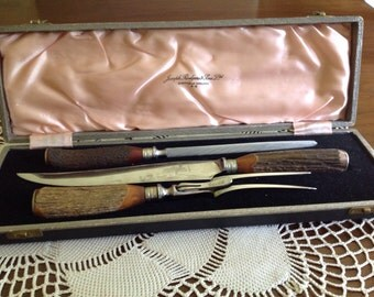 Antique stag horn Joseph Rodgers & Sons Ltd Carving set
