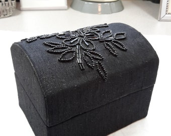 Beaded Black Satin Jewelry Box