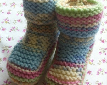 Knit Garter Stitch Bootees