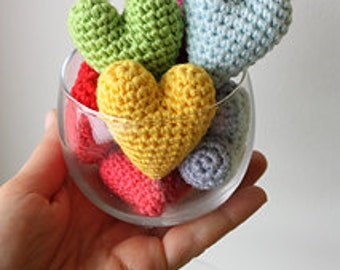 Amigurumi Heart (set of three) plush cat toy