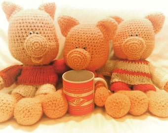 """Knitted toy pig """"Spartak Moscow"""""""