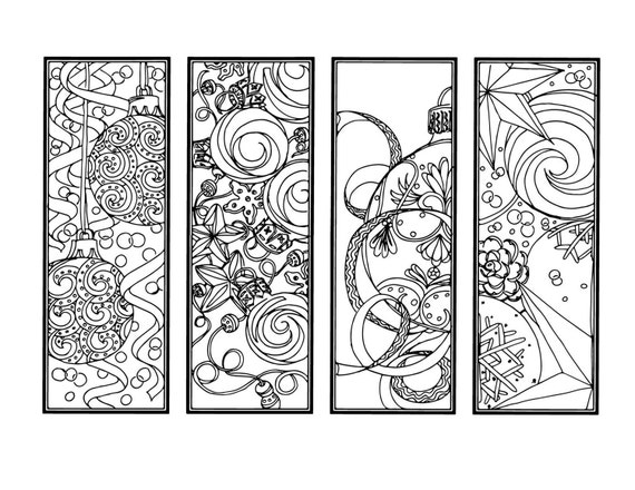 diy christmas ornament bookmarks holiday crafts color your own bookmarks instant download christmas coloring adult coloring page 6 - Christmas Ornament Coloring Pages