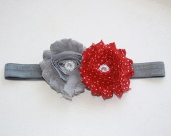 Red with white polka dots & gray shabby flowers with rhinestones stretch headband. Baby/Toddler. Hair accessory.