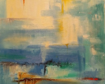 """Abstract oil painting titled """"Sunrise"""""""