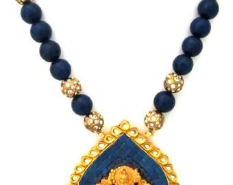Blue Onyx Studded Temple Pendant Necklace - AJS376