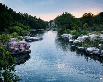 Palisades: WALL ART Fine Art Photography South Dakota Landscape Rock Formations River Sunset Pink Quartzite Sioux Falls Outdoor Hikers