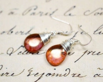 Coral Gold Wire Wrap Earrings, Rose Gold and Sterling Silver Jewelry, Copper Rose, Dusky Pink, Dark Peach