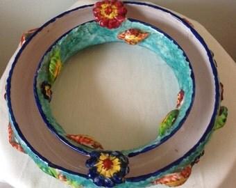 Italian pottery pansy ring