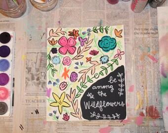 """7.5""""x9"""" Watercolor Print - """"Wildflowers"""""""