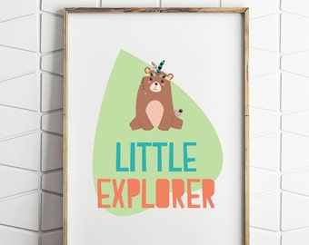 little explorer bear decor, little explorer decor, kids room decor, bear decor, bear printable, explorer printable