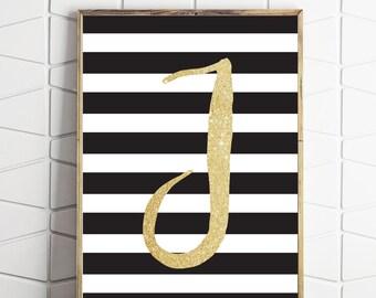 J letter monogram print, nursery letter printable, monogram decor, monogram print, personalised print, letter printable