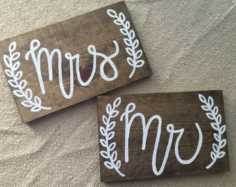 Mr & Mrs Seat Signs - Wooden Sign - Wedding