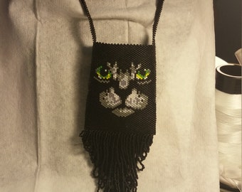 Black cat necklace bag