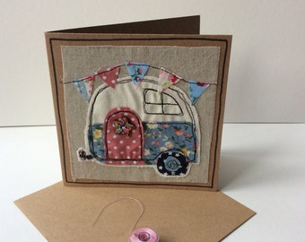 Raw edge applique camper van card