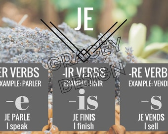 French Regular Verbs Classroom Poster Set
