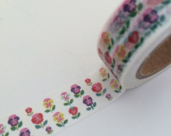 15mm x 10 m washi masking tape - colorful, flower (LTP)
