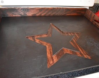 Stove Top Board, Engraved, Distressed, Rustic, Primitive Noodle Board Barn Star